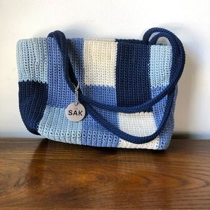 The SAK Blue and Cream Patch Style Purse